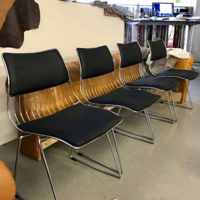 Vintage stoelen bekleden met leer by Dominikq Meubesltoffeerderij