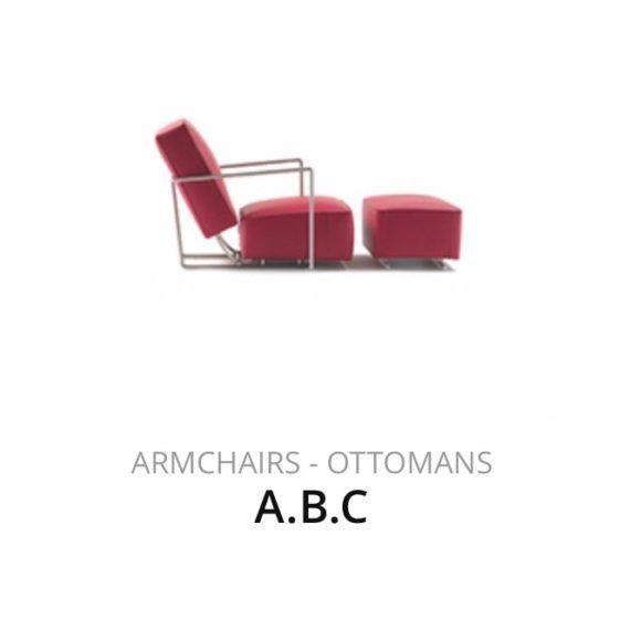 Flexform A.B.C fauteuil Ottoman herstofferen opnieuw bekleden stofferen herstellen