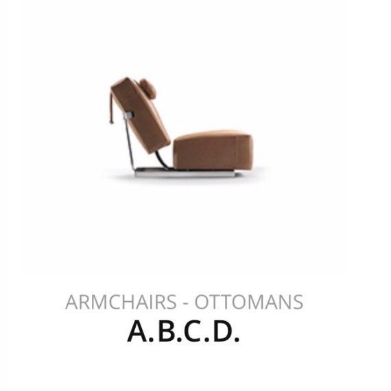 Flexform A.B.C.D. fauteuil ottomans herstofferen opnieuw bekleden stofferen herstellen