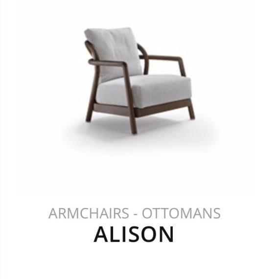 Flexform Alison fauteuil Ottomans herstofferen opnieuw bekleden stofferen herstellen
