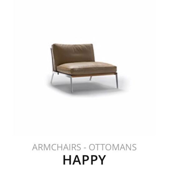 Flexform Happy fauteuil Ottomans herstofferen opnieuw bekleden stofferen herstellen