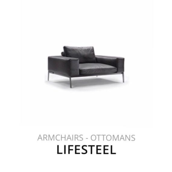Flexform Lifesteel Ottomans fauteuil herstofferen opnieuw bekleden stofferen herstellen
