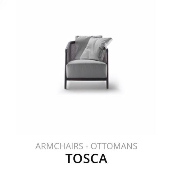 Flexform Tosca fauteuil Ottomans herstofferen opnieuw bekleden stofferen herstellen